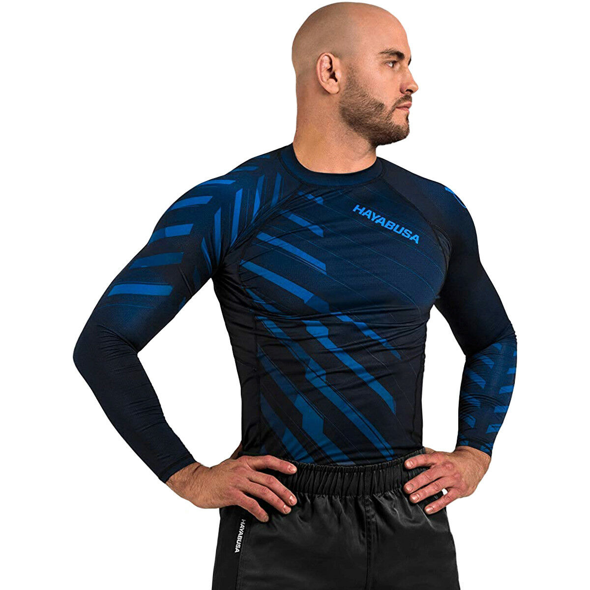 Hayabusa Odor Resist Long Sleeve MMA Compression Rashguard - bluee