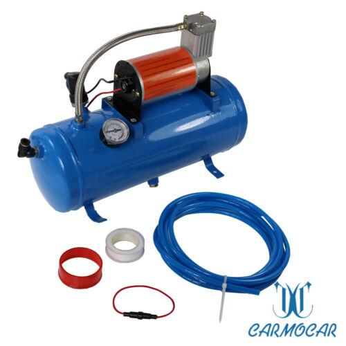 3ft Hose 150 dB Train 125 PSI Kit Truck Air Horn 4 Trumpet 12 Volt Compressor