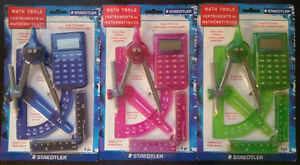 4Pc(Point Compass,Ruler,<wbr/>Calculator,Pro<wbr/>tractor) Set Of STAEDTLER Math tools.