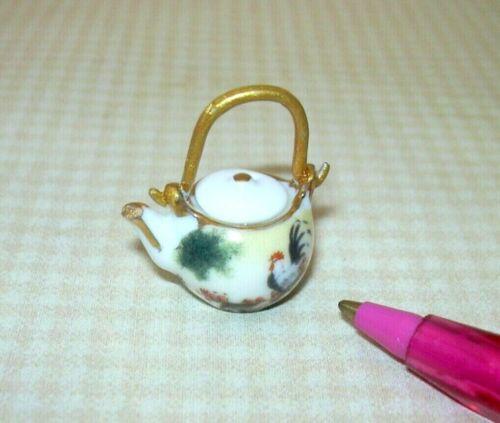DOLLHOUSE 1:12 Miniature Reutter Porcelain Japanese Tea Pot w//Rooster