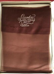 Vintage-Seamfree-Nylon-Stockings-15-Denier-400-Needle-size-8-5-Deep-Brown
