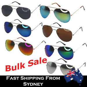 7c24055790a Image is loading Bulk-Aviator-Sunglasses -Mirror-Reflective-Lens-Unisex-Party-