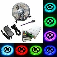 5M SMD RGB 5050 Waterproof 300 LED Strip Light 20 Key RF Remote 12V 5A Power Kit