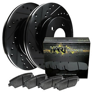 Fit Chevrolet Silverado 2500 Rear Black Drill Slot Brake Rotors+Ceramic Pads