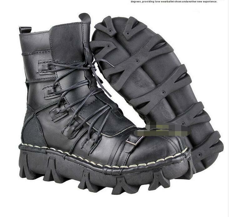 Mens Trendy Leather Military Ankle Boots Lace Up Combat Army Outdoor Shoes Black