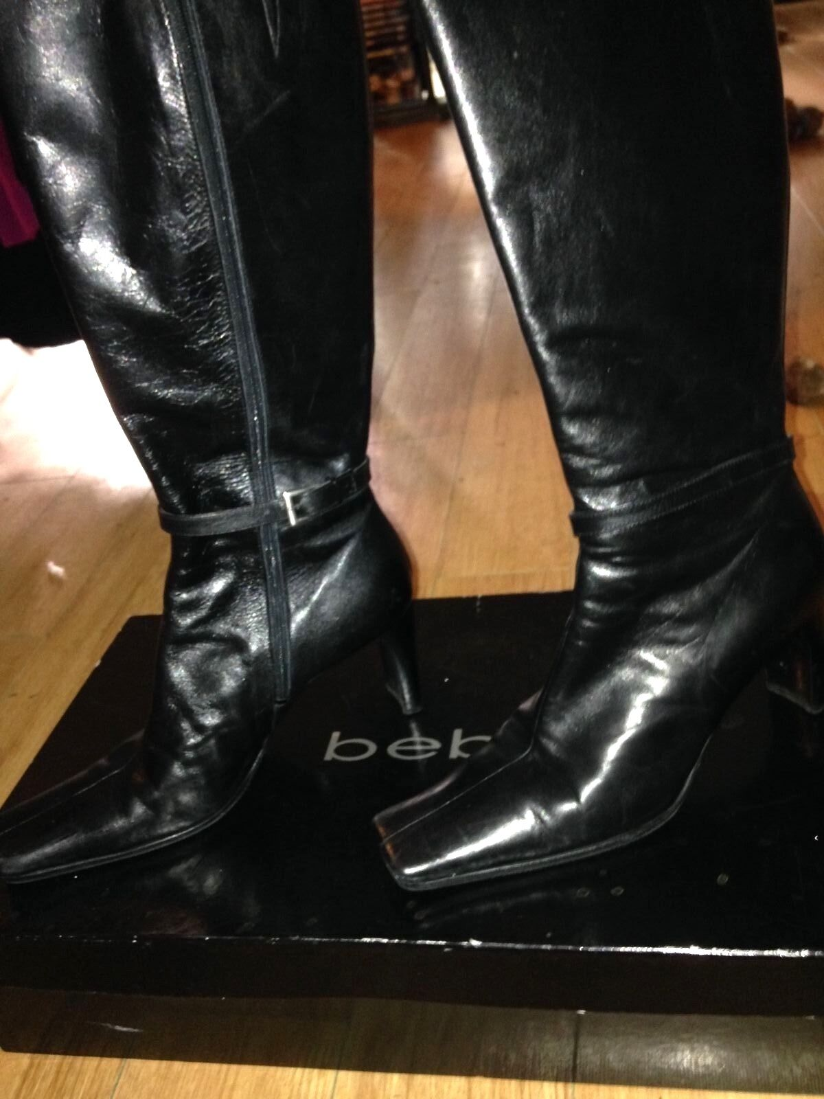 Bebe Black Shiny Patent Italian Leather Leather Leather Knee High Boots Aldo Quincy 8.5 58d4fd