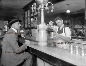 1900s Typical Drugstore Coca Cola Soda Fountain Photo Glass Camera Negative #1