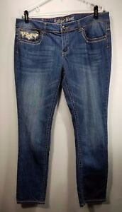 Antique-Rivet-Womens-Distressed-Leather-amp-Bling-Pockets-Sz-36-Skinny-Stretch-Jeans