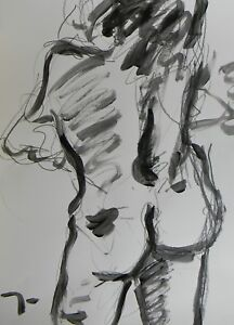 JOSE-TRUJILLO-ART-ABSTRACT-ACRYLIC-PAINTING-NUDE-WOMAN-BLACK-PAINT-PAPER-SIGNED