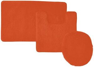 Details About 3 Piece Solid Bathroom Set Bath Mat Contour Rug Toilet Lid Cover Bright Orange