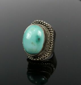 Vintage-925-Sterling-Silver-Southwest-Oval-Turquoise-Sz-7-Pave-Chunky-Ring-17-9g