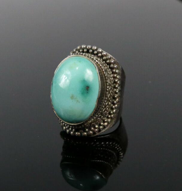 Vintage 925 Sterling Silver Southwest Oval Turquoise Sz 7 Pave Chunky Ring 17.9g