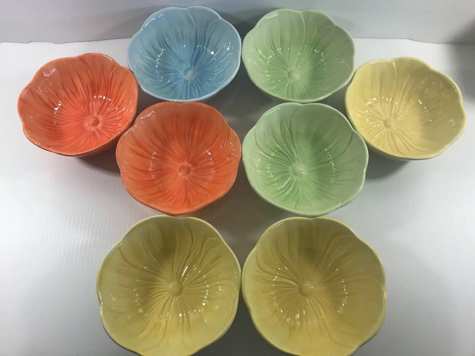 Lucerne Foods Poppy porcelaine Lot de 8 soupe céréale bol vert Orange jaune bleu