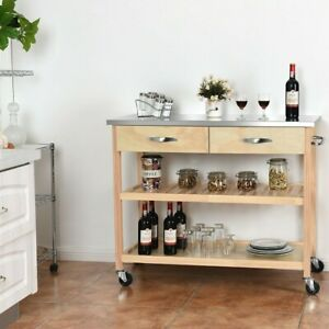 Home-Rolling-Kitchen-Trolley-Cart-Island-with-Stainless-Steel-Countertop-Cabinet