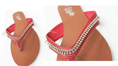 Nuevas señoras para mujer Slip On Jalea Diamante Verano Toe Post Sandalias Flip Flops Tamaño
