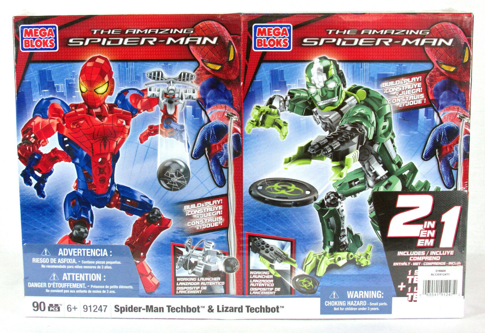Mega - bloks   91247 amazing spider - man - echse techbot hat 90 pcs 6 + bnib versiegelt