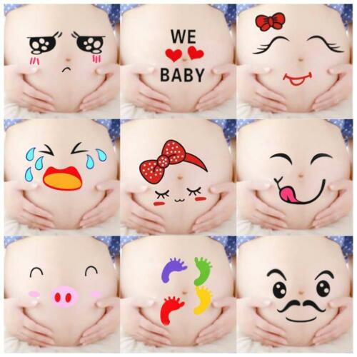 4 Pcs Facial Expressions Pregnancy Baby Bump Belly Stickers Maternity-A+