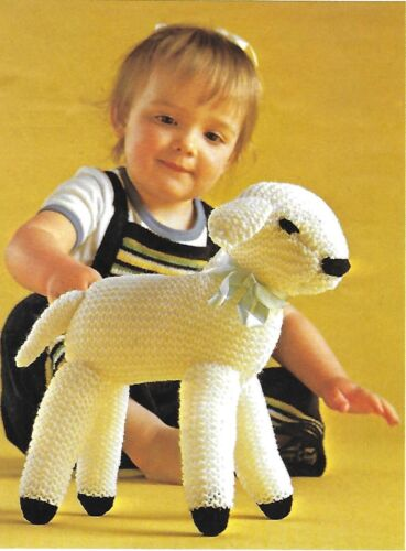 "Cute lamb soft toy vintage KNITTING PATTERN 10/"" tall Knit an Easter gift DK603"
