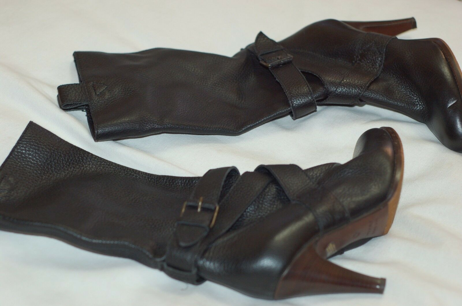NWOB L'autre Chose Black Leather Heels Mid Calf Boots shoes Sz 36 Made in