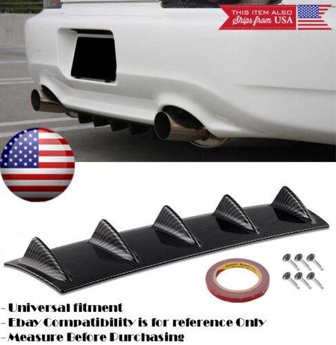 "23/"" x 6/"" Gloss Carbon Rear Bumper Valance Diffuser 5 Shark Fins For Honda Acura"