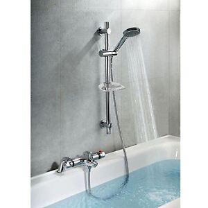 Bath Shower Mixer Taps Thermostatic thermostatic bathroom bath shower valve mixer tap with slider rail