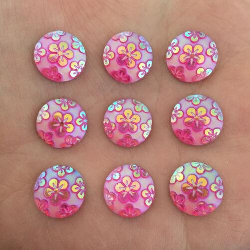 30pcs AB Resin round shape Sakura FlatBack Making jewelry Clothing desig D447