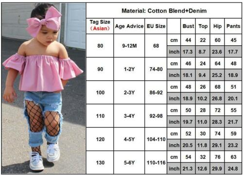 Legging Pants Jeans 3PCS Set 1-9Y Kids Baby Girls Outfits Clothes T-shirt Tops