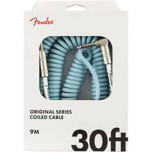 Genuine Fender Original Series Coil Cable 30/' Daphne Blue Straight-Angle
