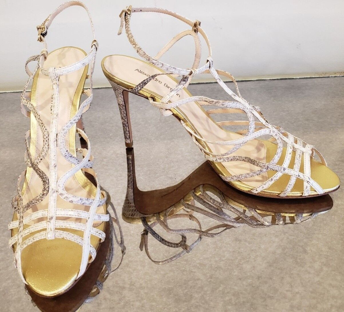 ALEXANDRE BIRMAN gold Snake Embossed Strappy Stiletto Sandals - Size 40
