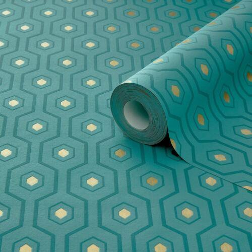 Grandeco A34201 Teal//Gold Ashton Géométrique Papier Peint With Metallic Elements