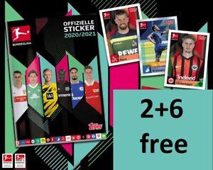 Topps bundesliga 2020/2021 stickers 1-208 to choose 2+6 free!!! 20/21