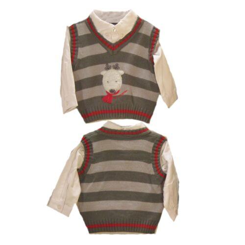 New Baby Boys 3 Pc Reindeer Sweater Vest Shirt Black Corduroy Pants 6-9 M