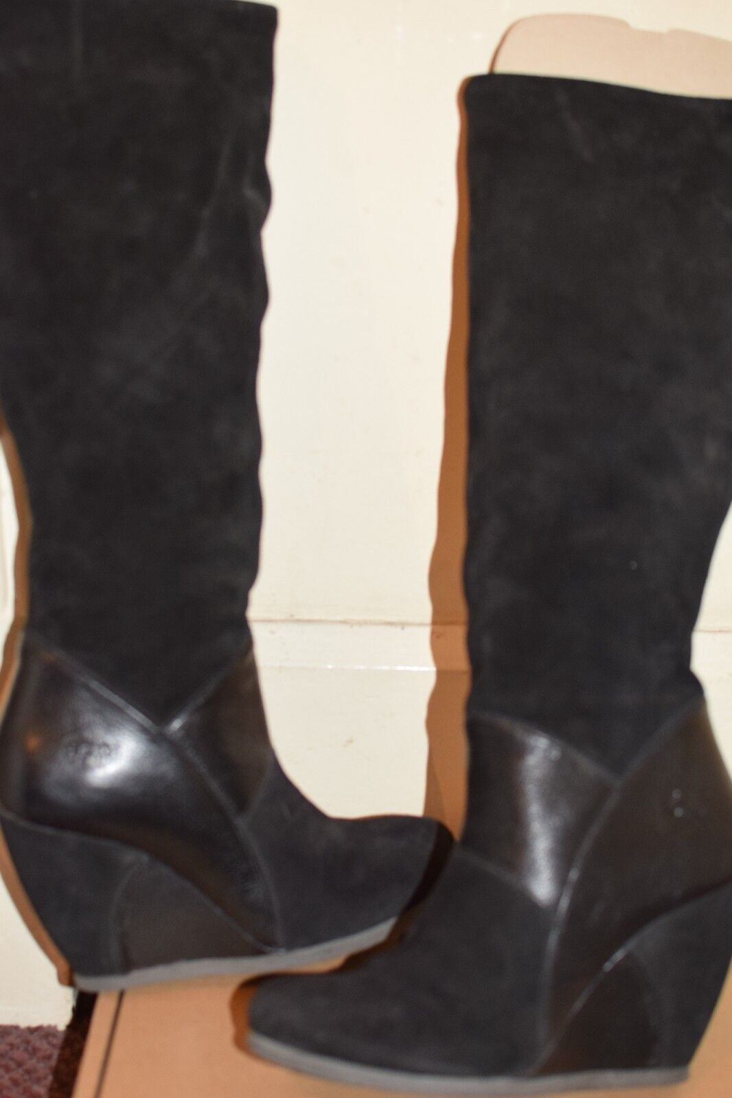 Fly London calf length black suede and leather boots 39 RARE