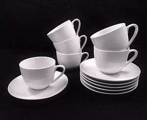 6er-Set-Kaffeetassen-mit-Untertasse-Tassenset-Porzellan-Weiss-Kaffee-Tassen