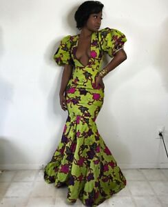 Details about S-3XL PLUS SIZE AFRICAN PRINT DASHIKI MAXI DEEP PLUNGE SHORT  SLEEVE DRESS PARTY