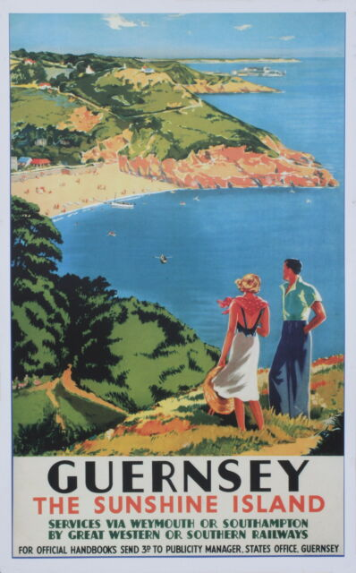 GUERNSEY  SEA VIEW  Vintage Deco Railway/Travel Poster A1,A2,A3,A4 Sizes