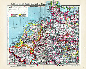 Antique Map Netherlands Belgium Northwest Germany Nederland - Netherlands germany map