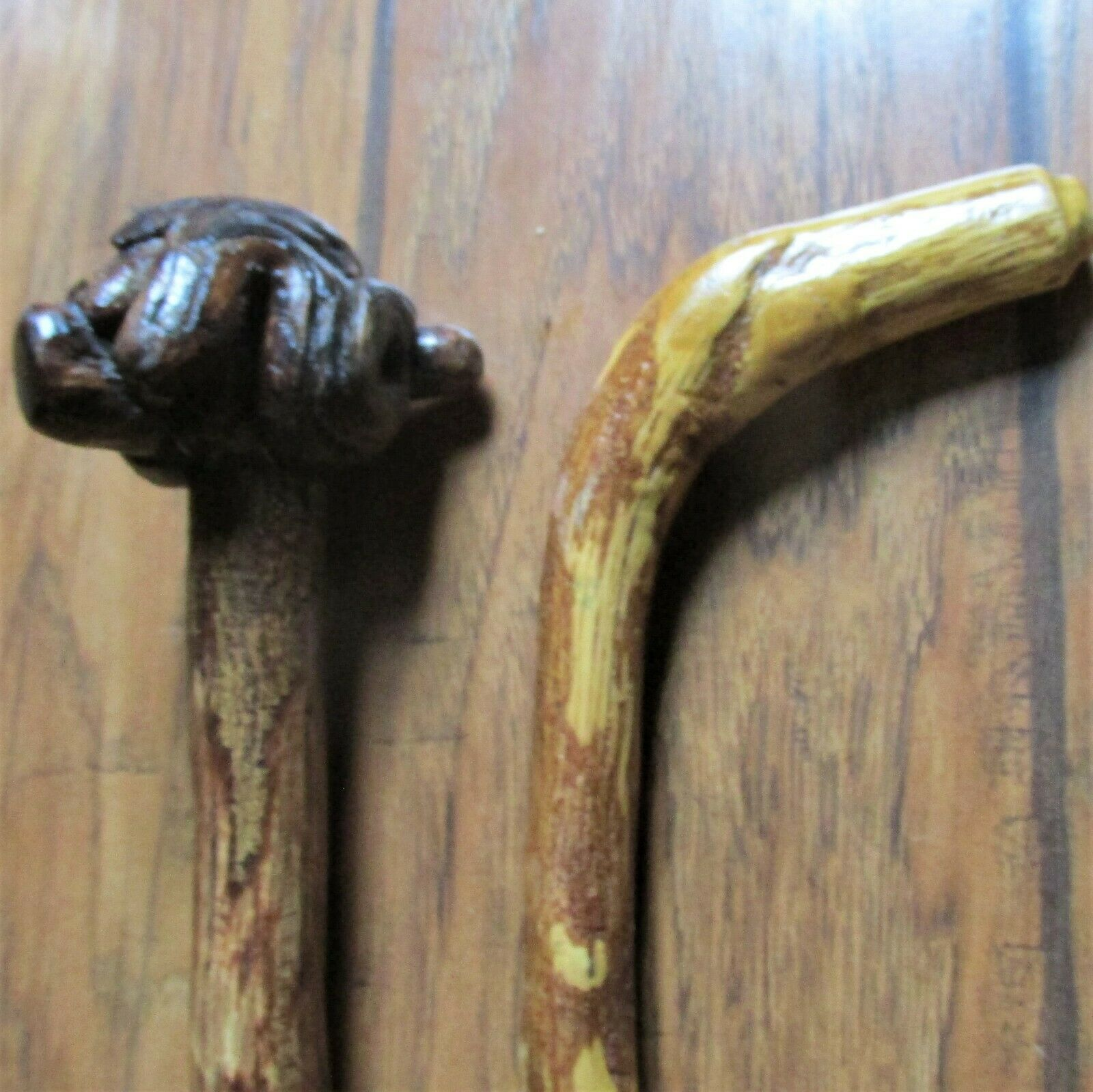 (2) Natural Wood Handmade Folk Art Canes Walking Sticks Nice