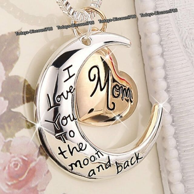 c5b6e5f8d Rose Gold Heart & Moon Mom Necklaces Silver Xmas Gifts For Her Mum Mother  Women