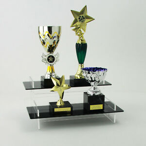 Image Is Loading Tiered Trophy Display Stand Awards Plaques Acrylic Black