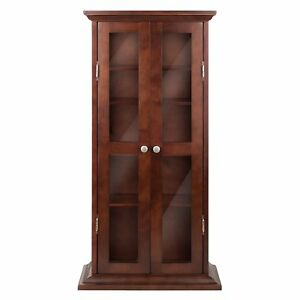 Image Is Loading Walnut Finish Wooden Media Cabinet 5 Shelf CD