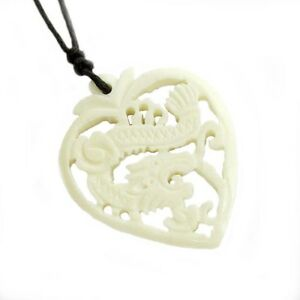 Amulet tibet bone chinese zodiac dragon heart pendant happy lucky image is loading amulet tibet bone chinese zodiac dragon heart pendant mozeypictures Gallery