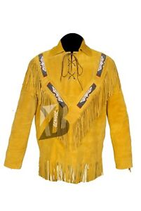 f738903f Men's Golden Suede Western Cowboy Leather Jacket with Fringe, and ...