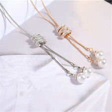 Fashion Women Crystal Rhinestone Pearl Pendant Long Chain Sweater Necklace Gift