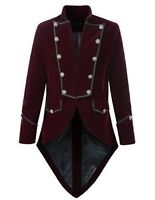 Mens Maroon Handmade Steampunk Tailcoat Jacket Goth Victorian Velvet Coat S-3XL