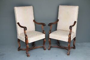 Trustful Pair Of Louis Xvi Style Carved Walnut Fauteuils Chairs