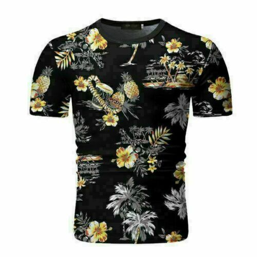 Top Floral Mens Pullover New Short Sleeve Slim Fit Solid Fashion Jumper T-Shirt