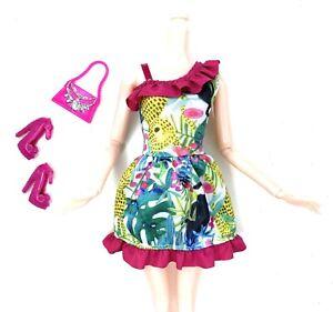 Barbie-Doll-Fashion-Pack-Set-Tropical-Rainforest-Toucan-Dress-Shoes-Purse