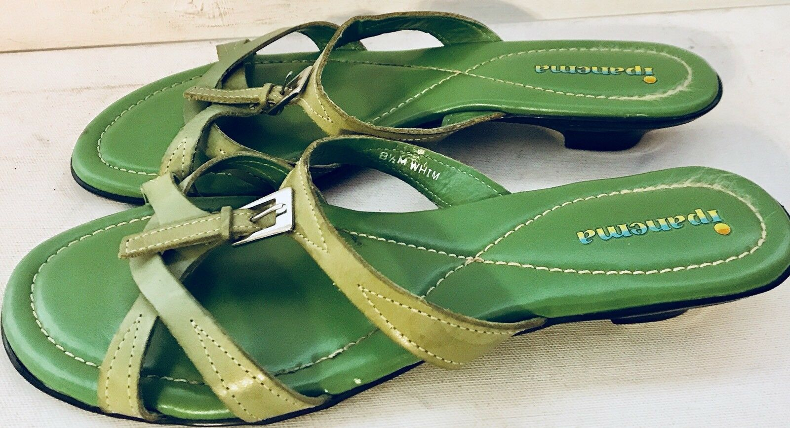 Ipanema Leather Green Brazilian Sandals Slides Strappy Green Leather Buckle Wmens Sz 8.5M Whim 5872b9
