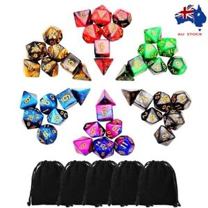 Sunshinehomely TRPG Game Dungeons & Dragons Polyhedral D4-D20 Multi Sided Acrylic Game Dice - Set of 42
